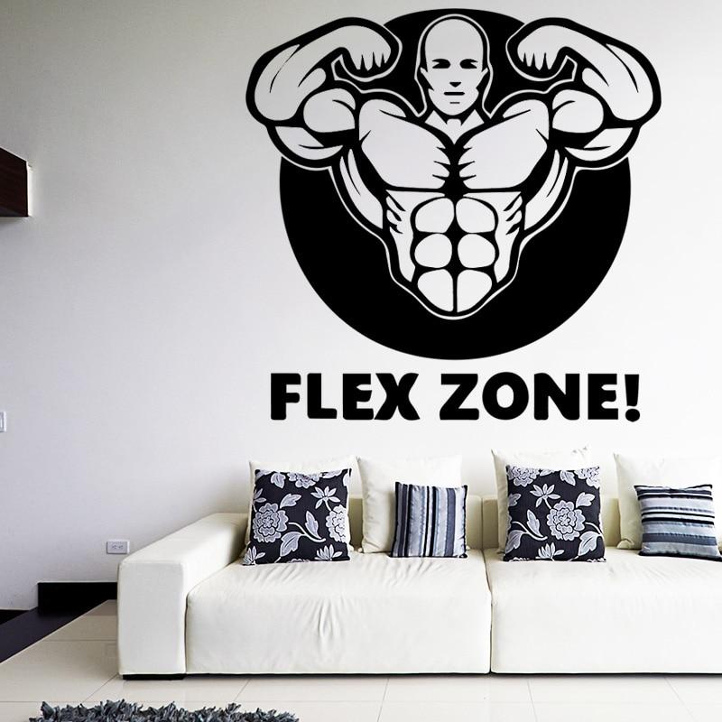 Мышцы человек наклейки котировки Flex зона Книги по искусству обои Removalbe стены наклейки для спортзала Гостиная Водонепроницаемый спортивный ... ...