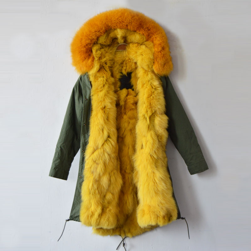 Italy Big Brand design women jacket /parka / Army green real fox fur jacket good quality factory price