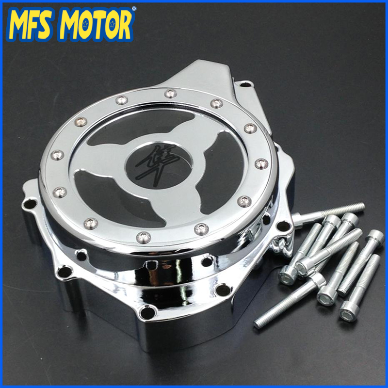 Freeshipping Motorcycle Glass see through Engine Stator Cover For Suzuki GSX1300R Hayabusa 1999-2013 Chrome aftermarket free shipping motorcycle parts glass see through engine stator cover for suzuki gsx1300r hayabusa 1999 2015 chromed