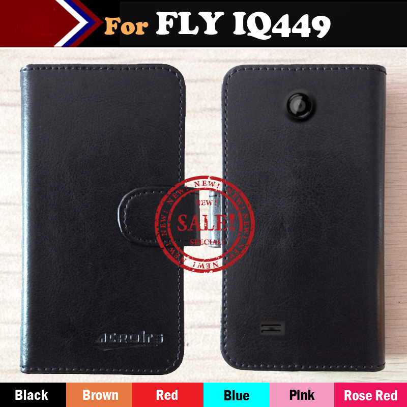 High Quality New Ultra-thin Phone Holster Flip Leather Case For Fly IQ449 Era Pronto Magnetic Button Minimalist Protective Cover