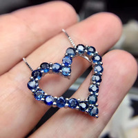 Natural blue sapphire stone pendant S925 silver Natural Gemstone Pendant Necklace Romantic heart women girlfriend fine jewelry