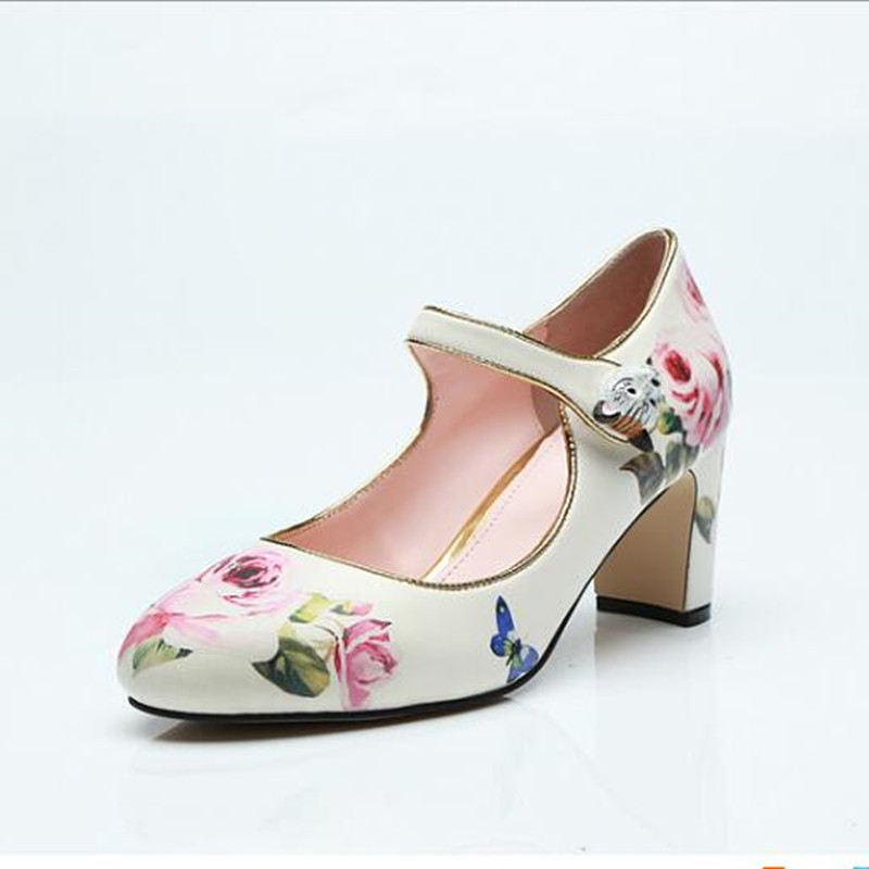 2019 New arrive pink rose floral printing pumps ladies party wedding shoes round toe chunky high heels Mary Janes 2019 New arrive pink rose floral printing pumps ladies party wedding shoes round toe chunky high heels Mary Janes