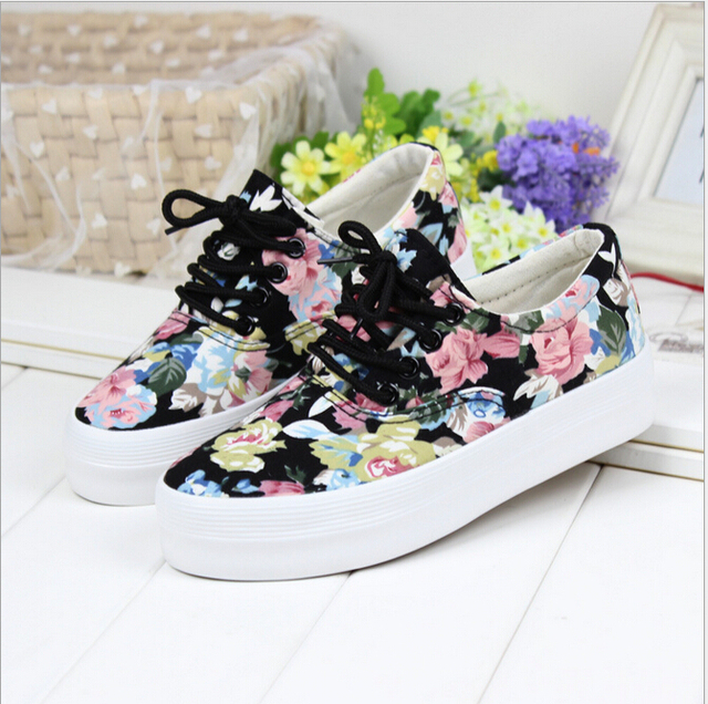 2016 Floral canvas shoes high quality women shoes with thick soles muffin Korean tidal shoes a099