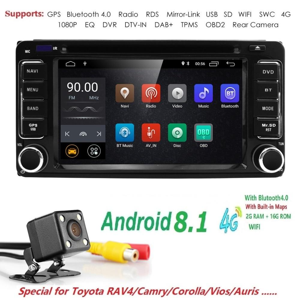 Autoradio 2 din Android 8.1 Car DVD Player Multimídia Para Toyota Land cruise 100 200 prado120 150 RAV4 COROLLA Camry yaris Hilux