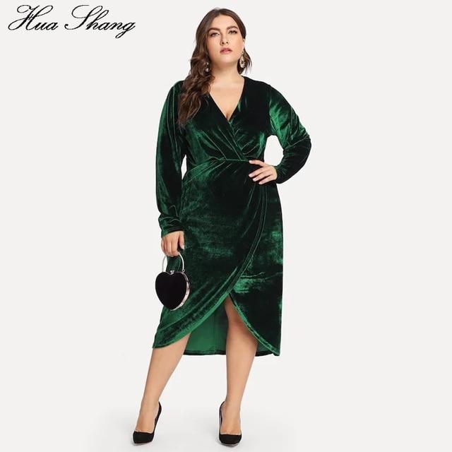 separation shoes dc93c f963d Autunno Inverno Vestito di Velluto Manica Lunga Delle Donne Con Scollo A V  Vita Alta Irregolare Maxi Lungo Verde Più Il Formato Abbigliamento Donna