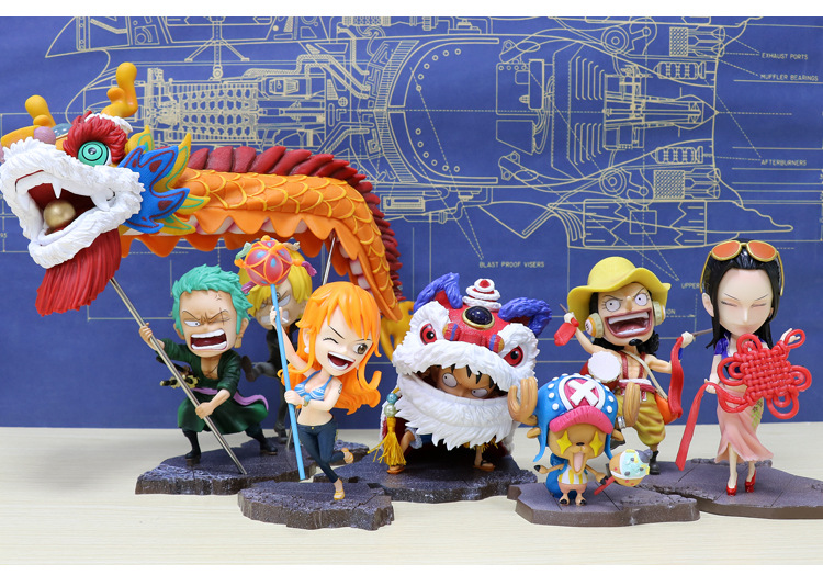 Anime One Piece Luffy Chinese New Year Lion Custome Zoro Sanji Nami dragon Robin Usopp Chopper lion dance Cute Figure Model Toys|Action & Toy Figures| |  - title=