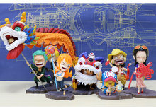 Anime One Piece Luffy Zoro Sanji Nami Robin do dragão Ano Novo Chinês Leão Custume dança do leão Bonito Figura Usopp Chopper brinquedos modelo(China)