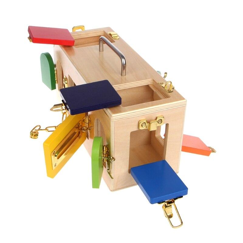 Montessori serrure boîte coloré enfants enfants éducatifs préscolaire formation jouets - 5