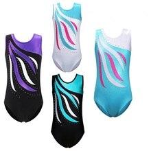 BAOHULU/От 3 до 14 лет для девочек, без рукавов, с блестящими стразами, гимнастический купальник, цельный, синий, черный, белый, детская одежда для балета