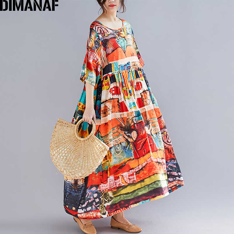 Dimanaf 플러스 사이즈 여성 프린트 드레스 여름 sundress 코튼 여성 레이디 vestidos 루스 캐주얼 홀리데이 맥시 드레스 빅 사이즈 5xl 6xl