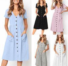 2019 women's large size dress fashion V-neck button Receive waist  dress casual solid color short-sleeved dress недорого