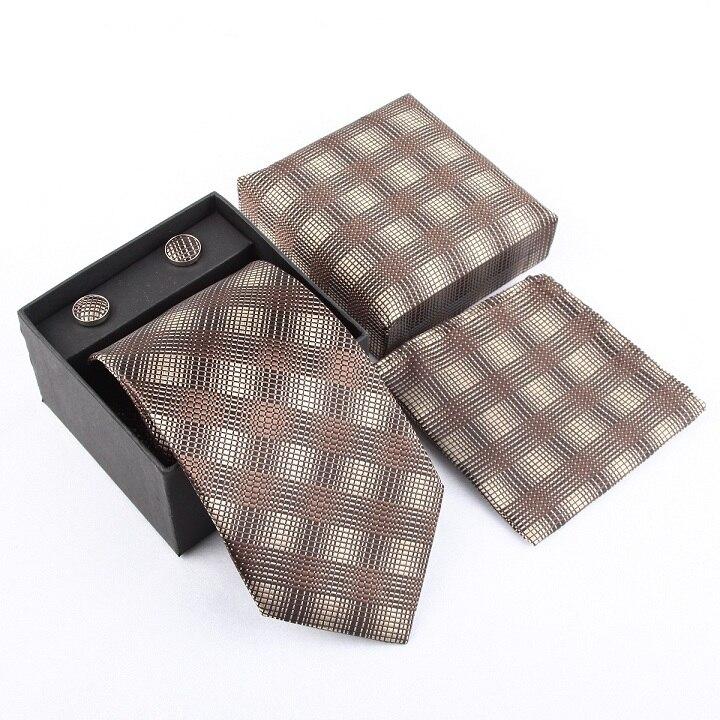 Мужская мода высокого качества набор галстуков галстуки запонки шелковые галстуки Запонки Карманный платок - Цвет: 31