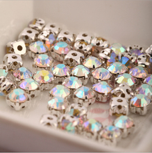 SS20 4.5mm 288pcs/lot Silver Plating Crystal AB Color Rhinestone Beads, Sew On Rhinestones Spacer Beads for Garment Jewelry