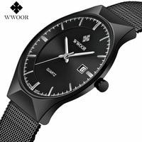 Top Fashion Classic Brand WWOOR Watches Mens Quartz Sport Watch Watchcase Ultra Thin Stainless Steel Mesh