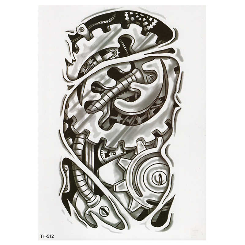 e7153b924 ... Bionic Mechanical Arm Gear Scorpion Temporary Tattoo Sticker Men  Waterproof Tattoos Split Body Art Fashion Fake ...