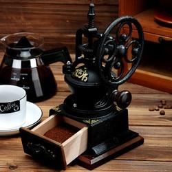 Grinding bean machine manual coffee beans grinding household grinding iron small coffee machine retro big wheel coffee appliance