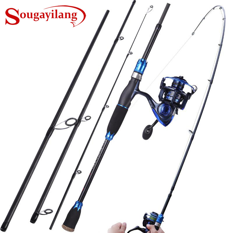 Sougayilang Portable Fishing Rod Combos 4 Section Lure Fishing Rod 13 1BB Aluminum Spinning Fishing Reels