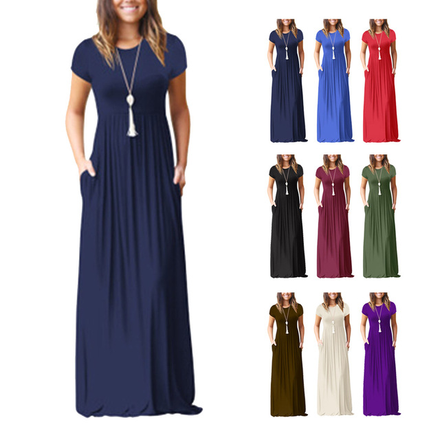 Women Short Sleeve Maxi Dress With Pockets Plain Loose Swing Casual Floor  Length Pure Color Long Dress b4350c8d4