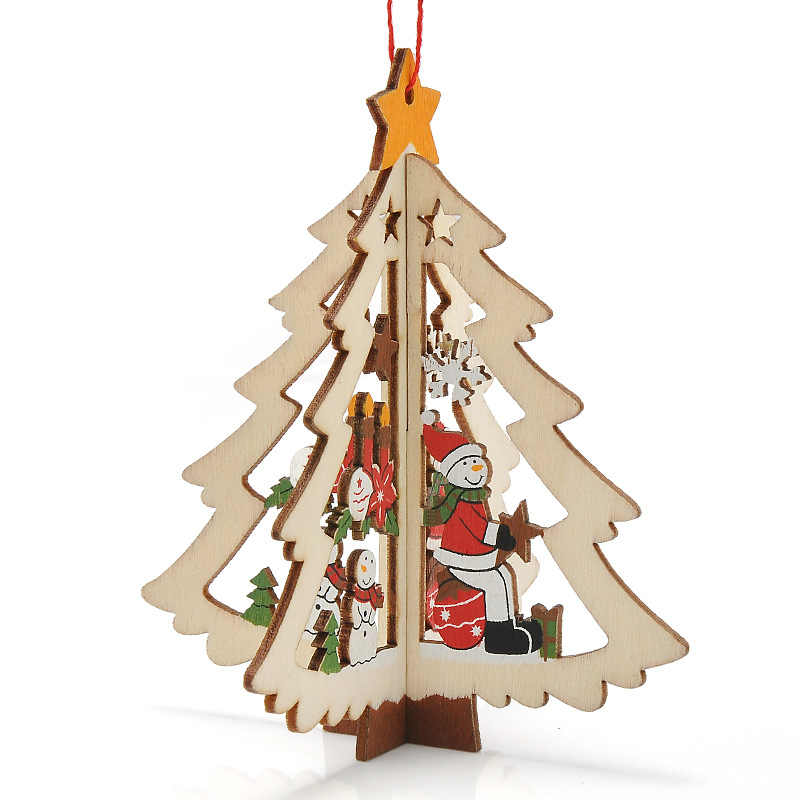3D деревянное Рождественское украшение Рождественская елка кулон украшения Висячие украшения для дома вечерние украшения