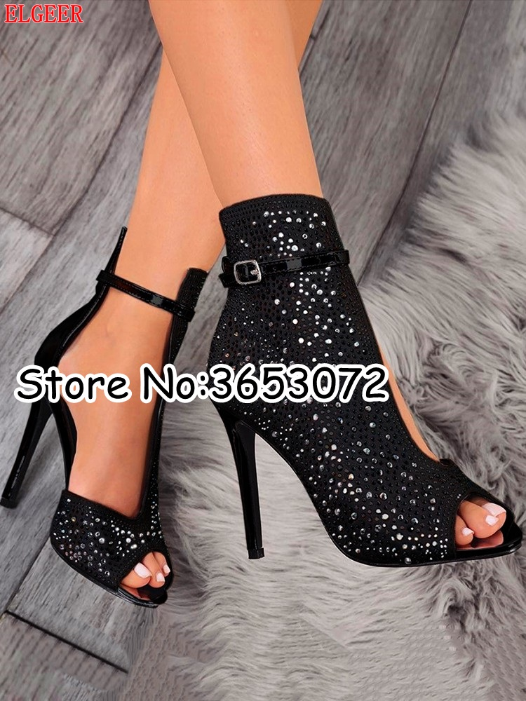 Kristall Sandalen Toe Klassische High Stiletto Frau The Peep Cut Pailletten Picture Pumpt Schuhe Schwarzes Dame Schnalle Super Strass outs as Heels fA0ggnxq