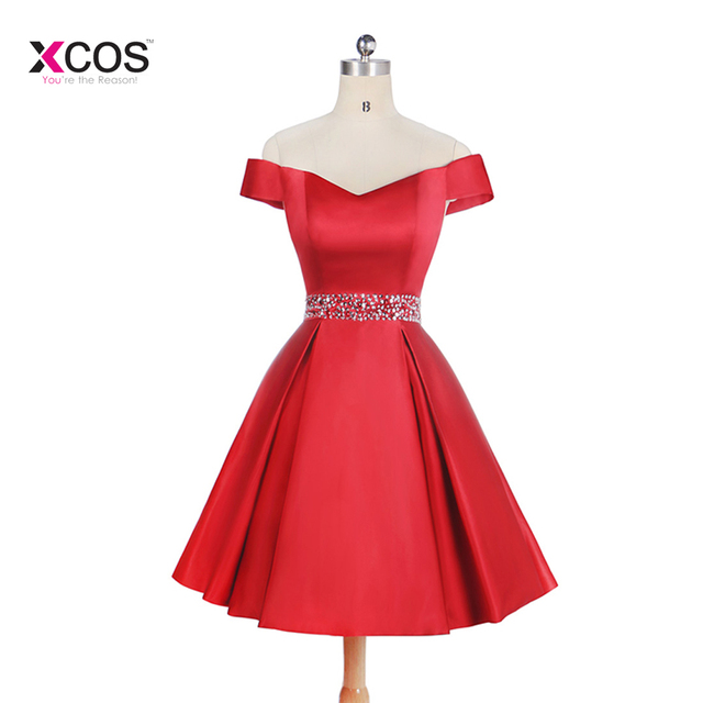 New Arrival 2018 Red Satin Short Homecoming Dresses Off The Shoulder Lace Up Back Cystal Beads Junior Graduation Dress
