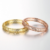 Fashion Hollow Rose Gold Plated And 18K Rose Gold Plated Bangles AAA Cubic Zircon Copper Alloy