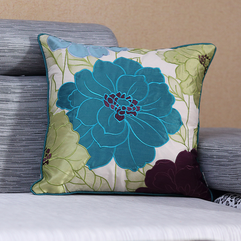 Pastoral Silk Embroidered Blue Luxury Cushions Covers Sofa