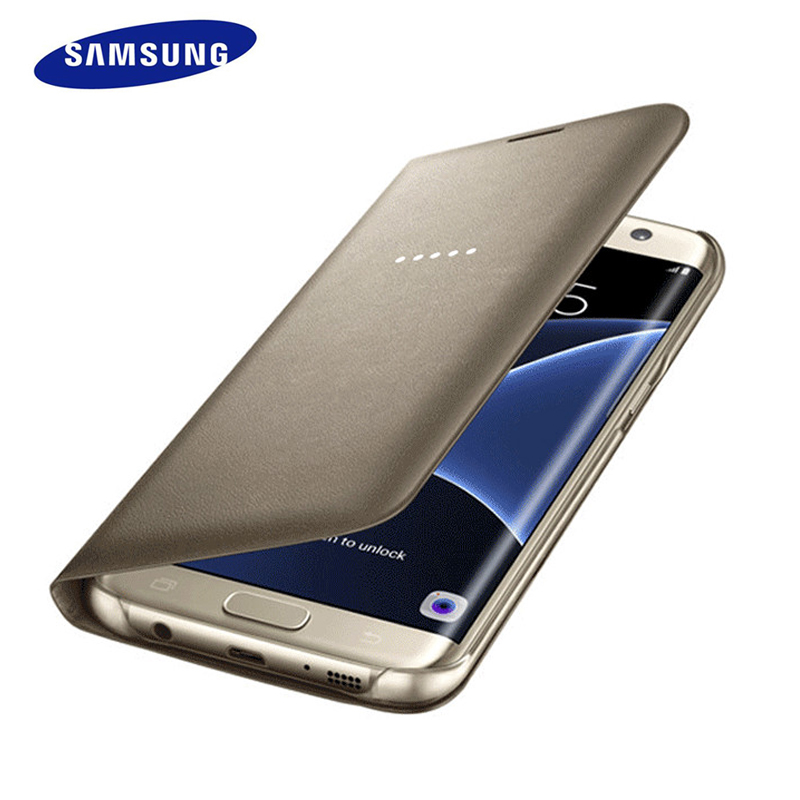 100 Original Samsung Galaxy S7 S7 Edge Smart Flip Case LED Personalized icon Smart Phone Cases