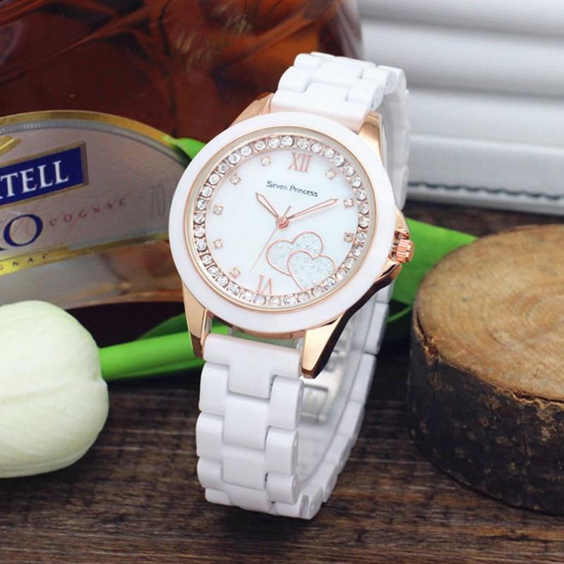 Casual Ceramic Women's Quartz Wristwatches White Analog Display Ladies Dress Watches Fashion Diamond Gold Case Relojes Feminino