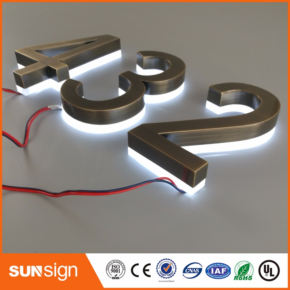 H15cm One Letter Home Decor Stainless Steel Numbers LED House Number Sign Outdoor