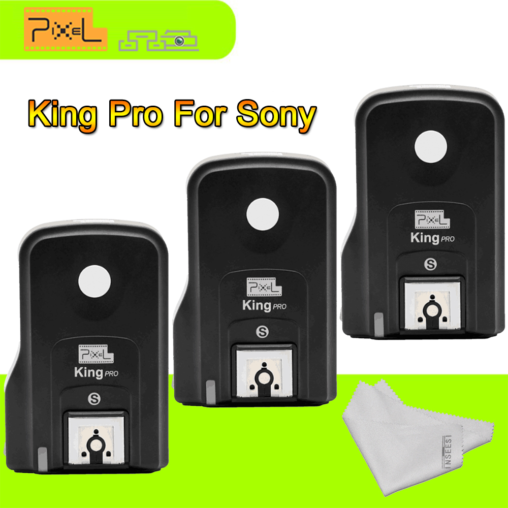 Pixel King Pro Three Flash Transceivers kit TTL HSS LCD Screen with PC Port for