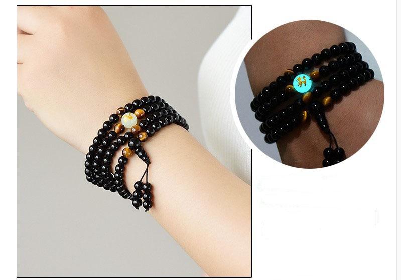 Black Buddha Beads Bangles & Bracelets 108 Beads Guru Handmade Jewelry Ethnic Glowing in the Dark Bracelet for Women or Men