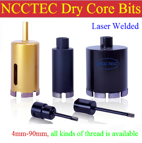 2.4'' LASER WELDED NCCTEC diamond DRY core drill bits CD60LW | 60mm DRY tiles drilling tools | 130mm long FREE shipping 3 laser welded diamond dry core drill bits cd75lw 75mm dry tiles drilling tools 130mm long free shipping