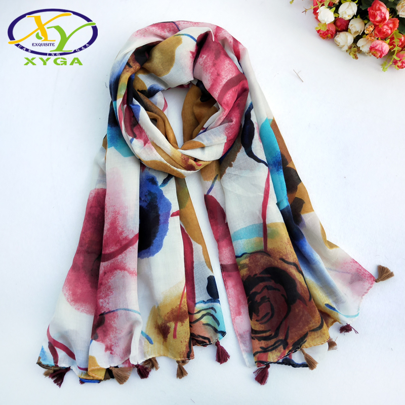 Colorful And Bright Flower Print Women Scarf New Cotton Long Tassels Fashion Ladies Scarves Thin Summer Shawls And Pashmina