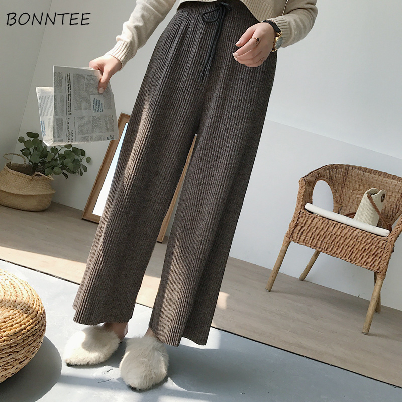 Pants   Women Loose Retro All-match Trendy   Wide     Leg     Pant   High Waist Drawstring Womens Casual Simple Korean Style Trousers Students