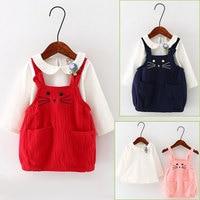 2 pz Set Vivace Neonate Vestiti Del Bambino Bambini Cute Cat dress suit shirt con tute bambini abbigliamento imposta china a buon mercato abiti