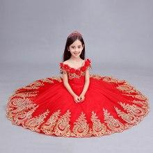 Халат для детей, настоящее детское платье для девочки, красное платье с золотой вышитый цветок на плечо платье средневековое принцессы; красивое платье/Танцы/для выступления
