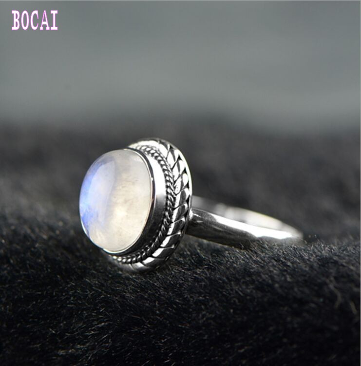 New S925 Solid Silver Women's Ring with Natural Moonstone Silver Ring Vintage Twisted Original Design Ring