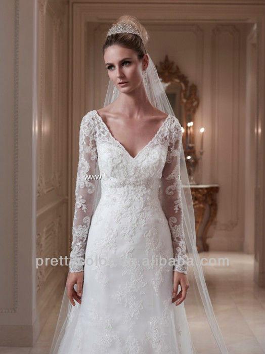 V neck wedding dress lace uk
