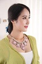 Женщины Ожерелье и Кулон Ювелирные Изделия Сплава Хрустальный Крест Цепи Цветок Черный Розовый Коренастый Заявление Ожерелье Collare Populare