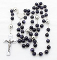 new unique design blue semi-pricious beads stainless steel rosary necklaces and jewelry for men high quality free shipping