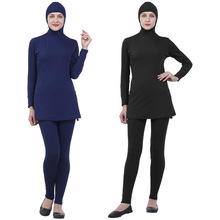 2019 Muslim Modest Swimsuits Plus Size Women Burkinis Beachwear Islamic Swim Wear Swimwear Full Cover Hijab Swimming