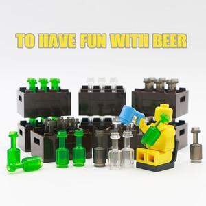Image 1 - 市アクセサリー瓶バスケットビルディングブロックグリーングレー透明ビールカップブラウン部品レンガおもちゃ子供互換友人