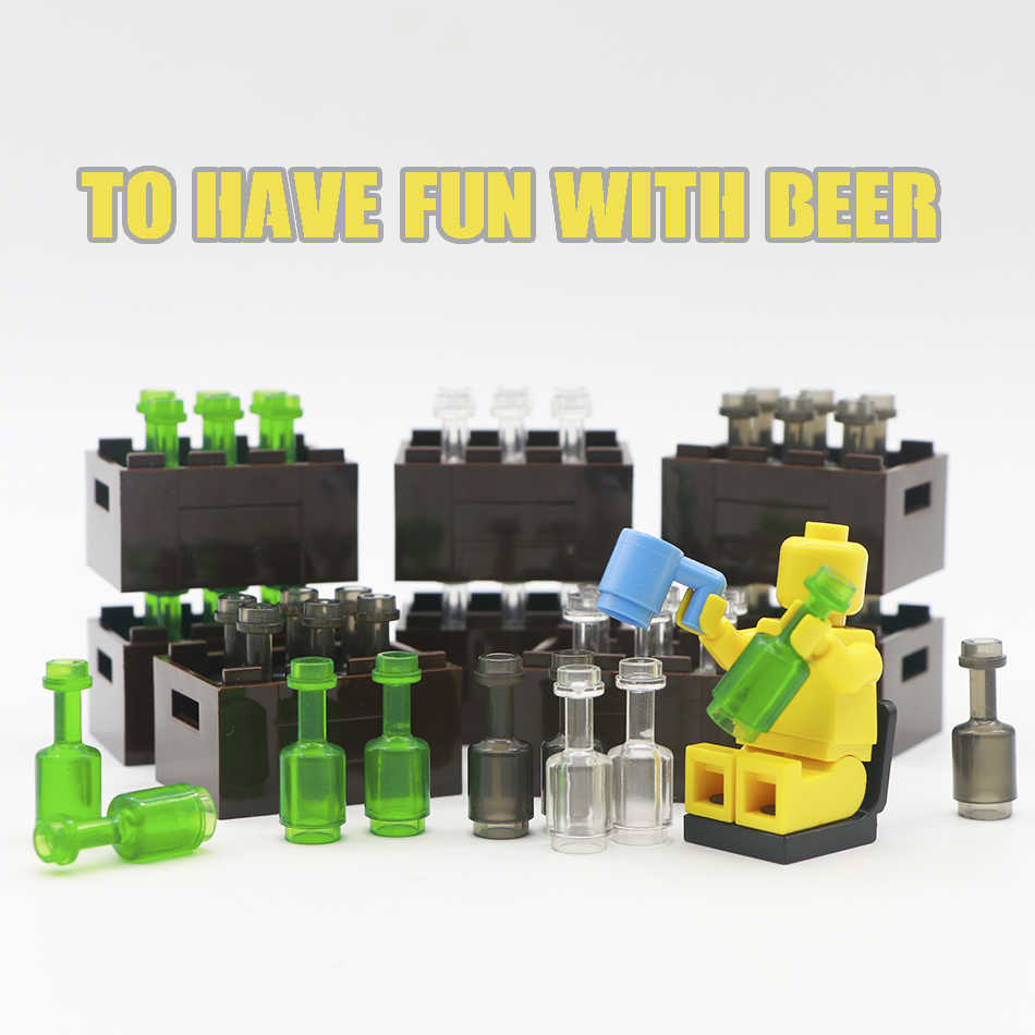 Acessórios Blocos de Construção da cidade Verde Cinza Transparente Garrafa de Cerveja Copo Marrom Cesta de Peças de Tijolos Brinquedos Compatíveis Legoed Amigos