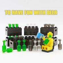 Cidade acessórios garrafa cesta blocos de construção verde cinza transparente copo cerveja marrom peças tijolos brinquedos crianças compatíveis amigos