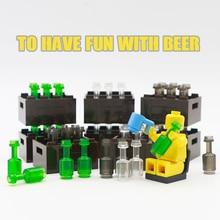 City Accessories Bottle Basket Building Blocks Green Grey Transparent Beer Cup Brown Parts Bricks Toys Kids Compatible Friends