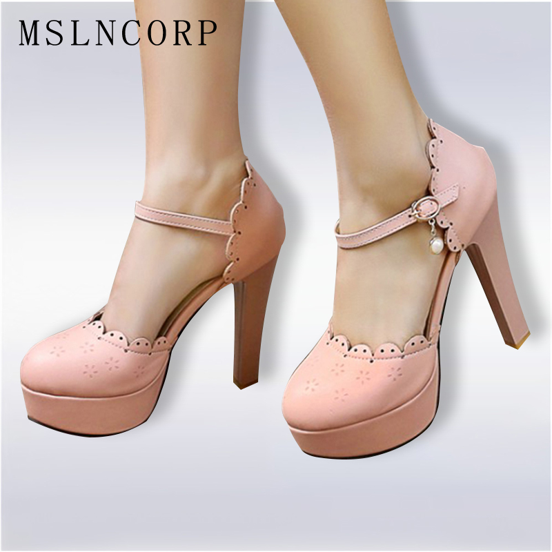 Plus Size 34-46 HOT Selling Women Pumps Sexy Platform High Heels Pearls Ankle Strap Sandals Summer Ladies Party Wedding Shoes super high ladies sweet sexy summer butterfly crystal high heels sandals women platform ankle strap shoes purple wedding shoes