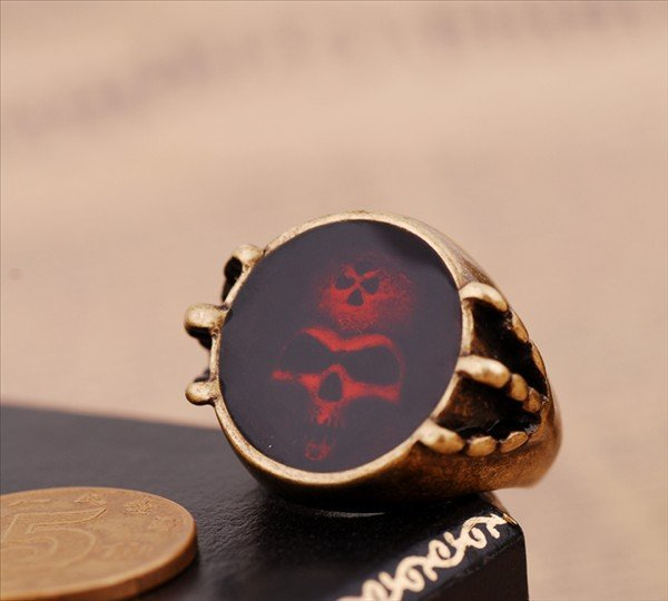 ENR017,Carved in the skull vintage rings,free shipping