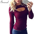 Cut out fashion 2017 t-shirts for women tops tees hot sale slim sexy hot 4 colors female t-shirt long sleeve fitness t shirts