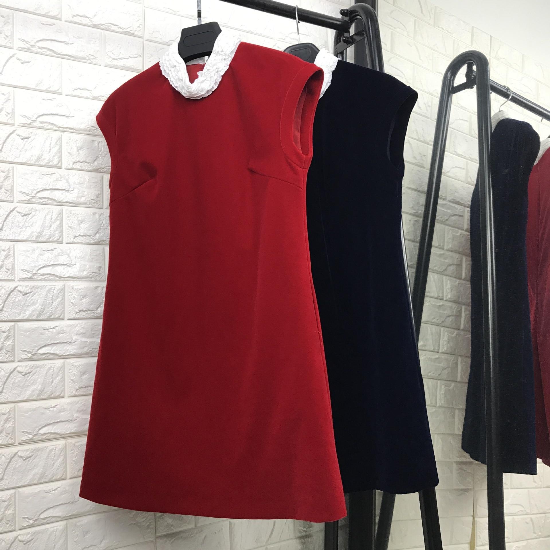 New arrival 2017 autumn fashion women velvet dress sleeveless loose style white collar casual a-line dresses black red